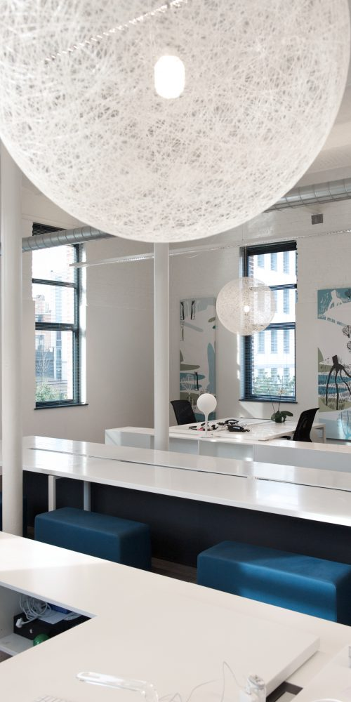 white office space, white offices, white light suspensions