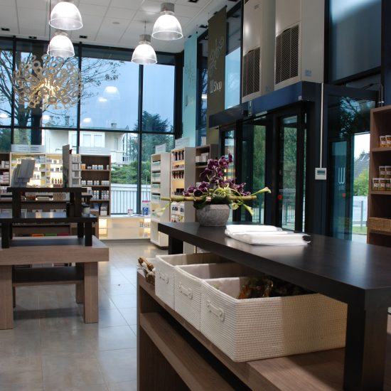 shop interior with wooden tables