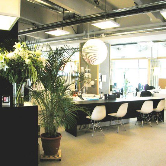 zwarte meubels, groen plant, witte stoelen