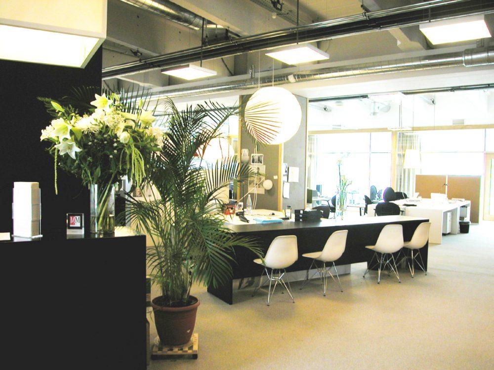 black furniture, white chairs, plants
