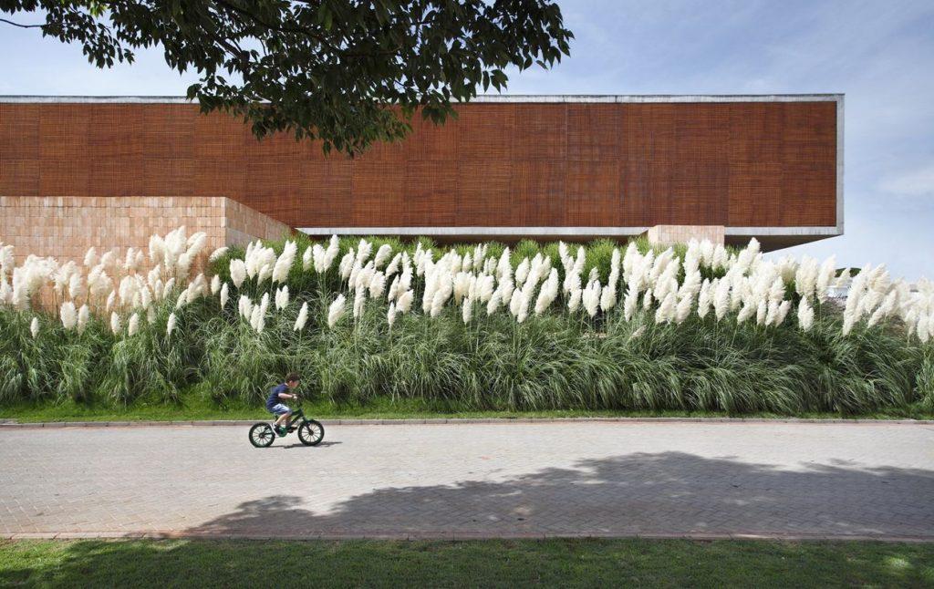 Huis met witte bloemen vooraan
