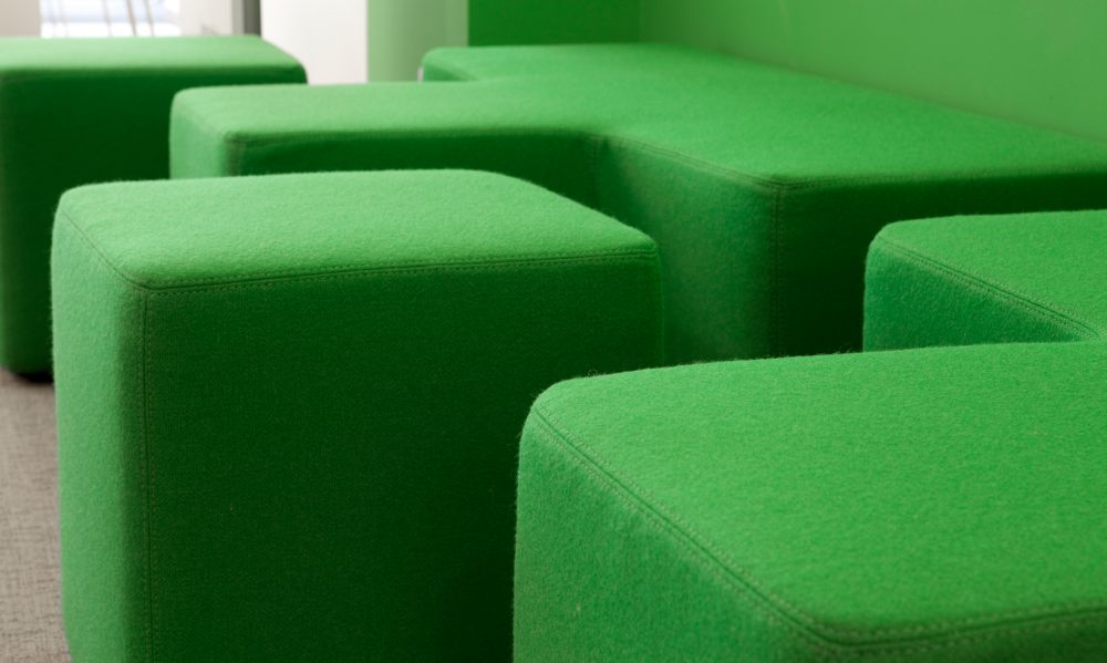 green fabric sitting elements