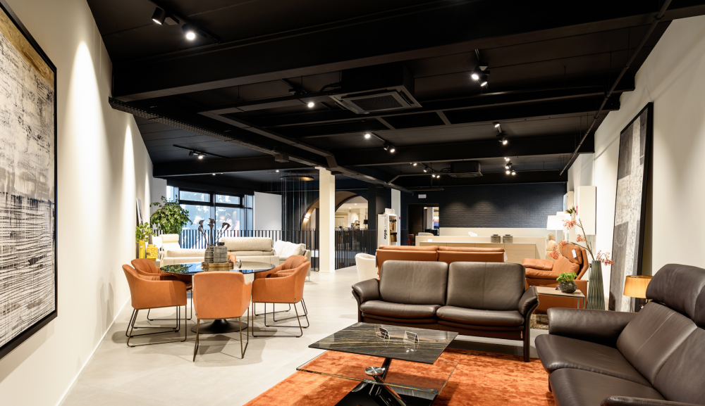 Showroom design furniture, black ceiling